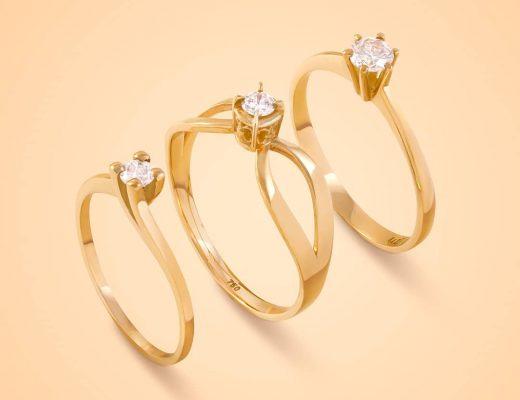 Anéis solitários Joias Vip