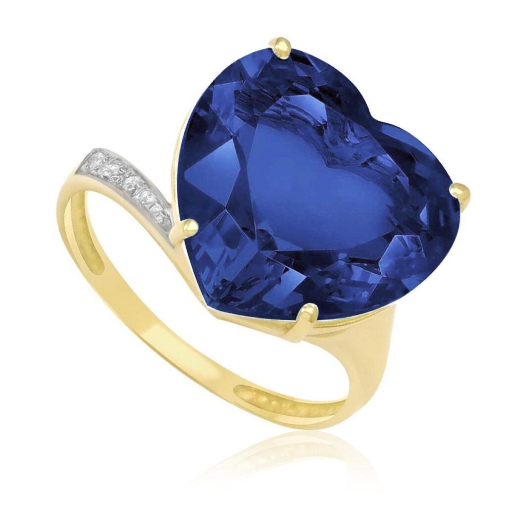 Anel de Ouro com 3 Diamantes e Cristal de Tanzanita Coração