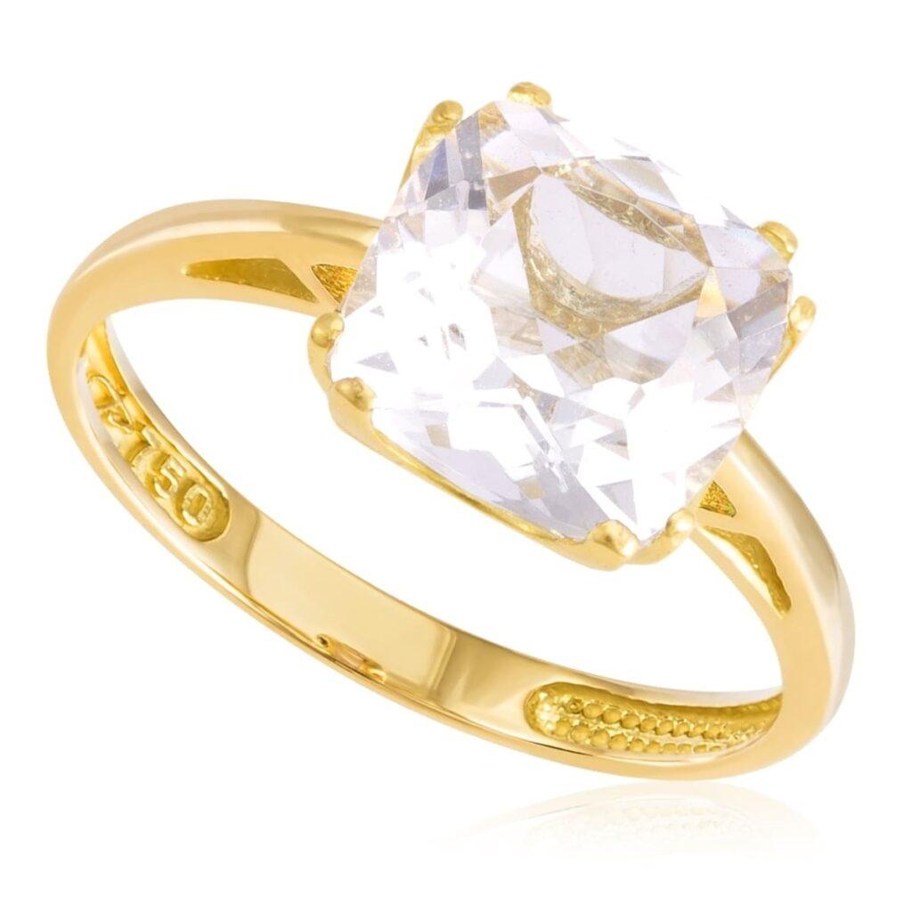 Anel de Ouro com Cristal de Rocha quadrado de 8 mm