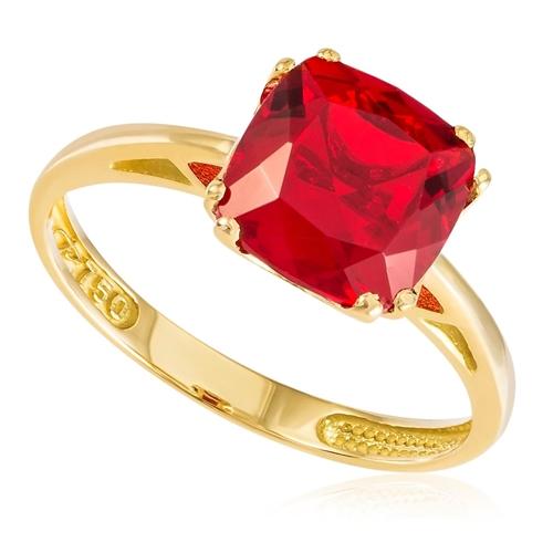 Anel de Ouro com Quartzo Rubi quadrado de 8 mm