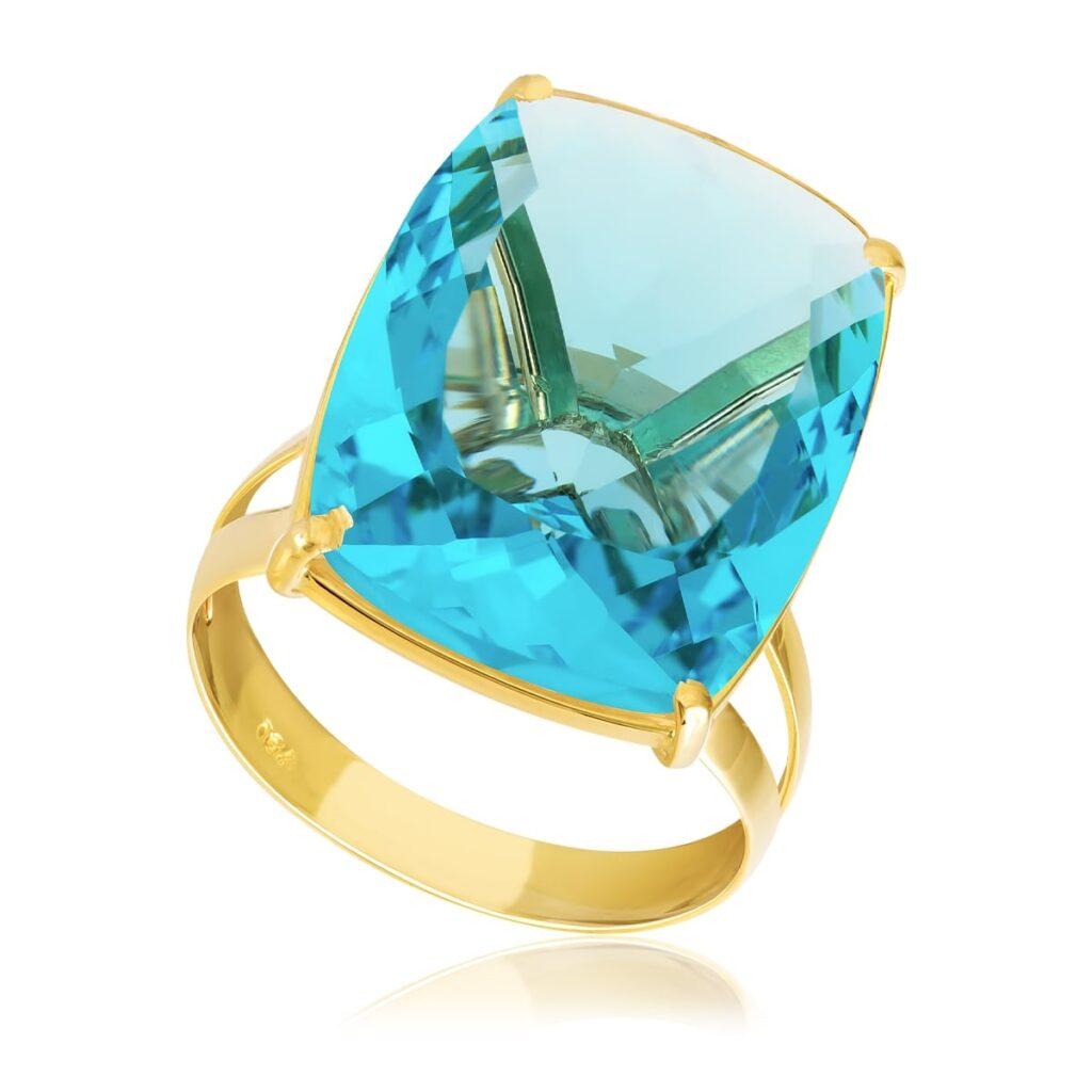 Anel de Ouro com Topázio Sky Blue Antique