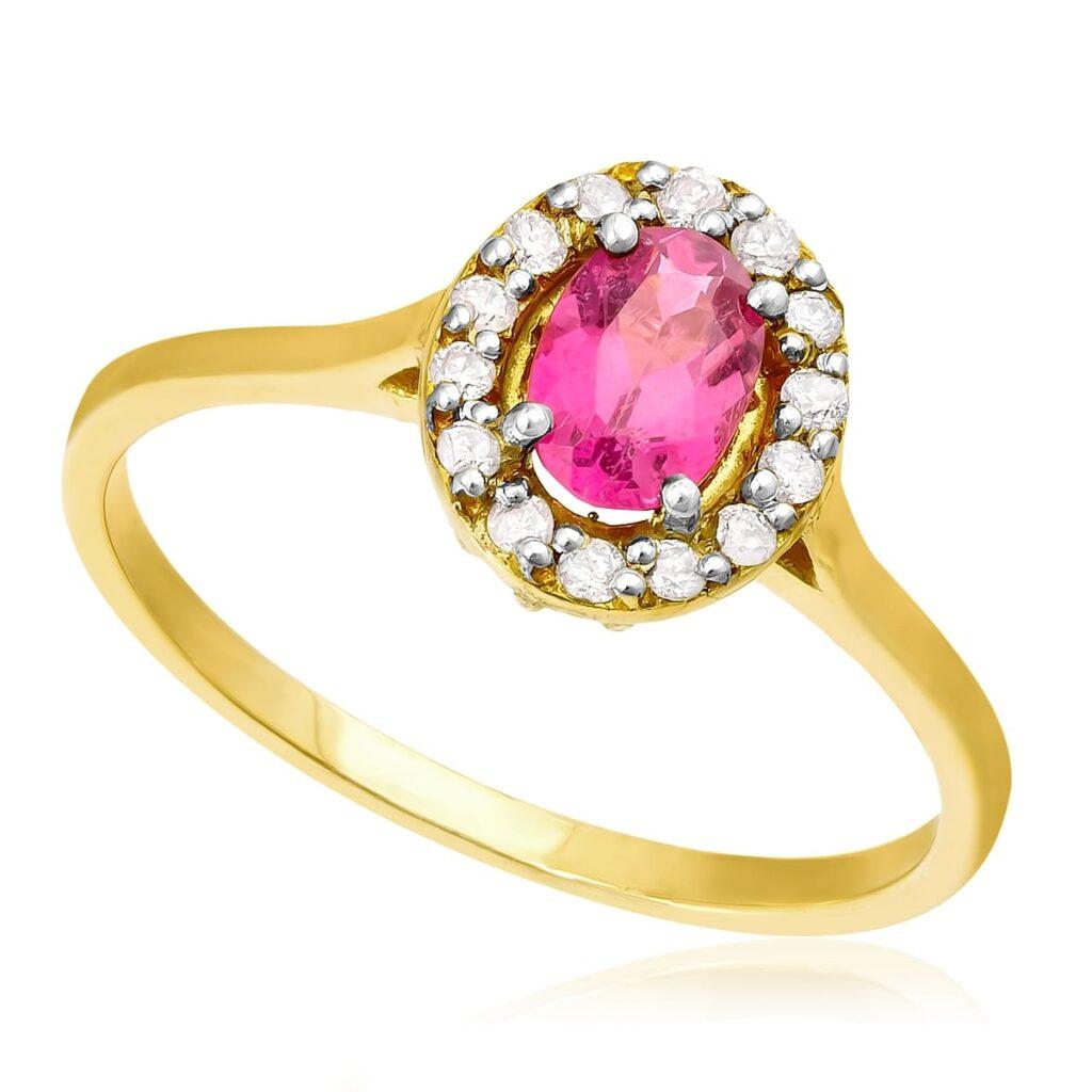 Anel de Ouro com Diamantes e Rubelita de 50 Pts