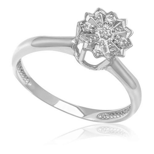 Anel Chuveiro de Ouro Branco com 5 Pts em Diamantes