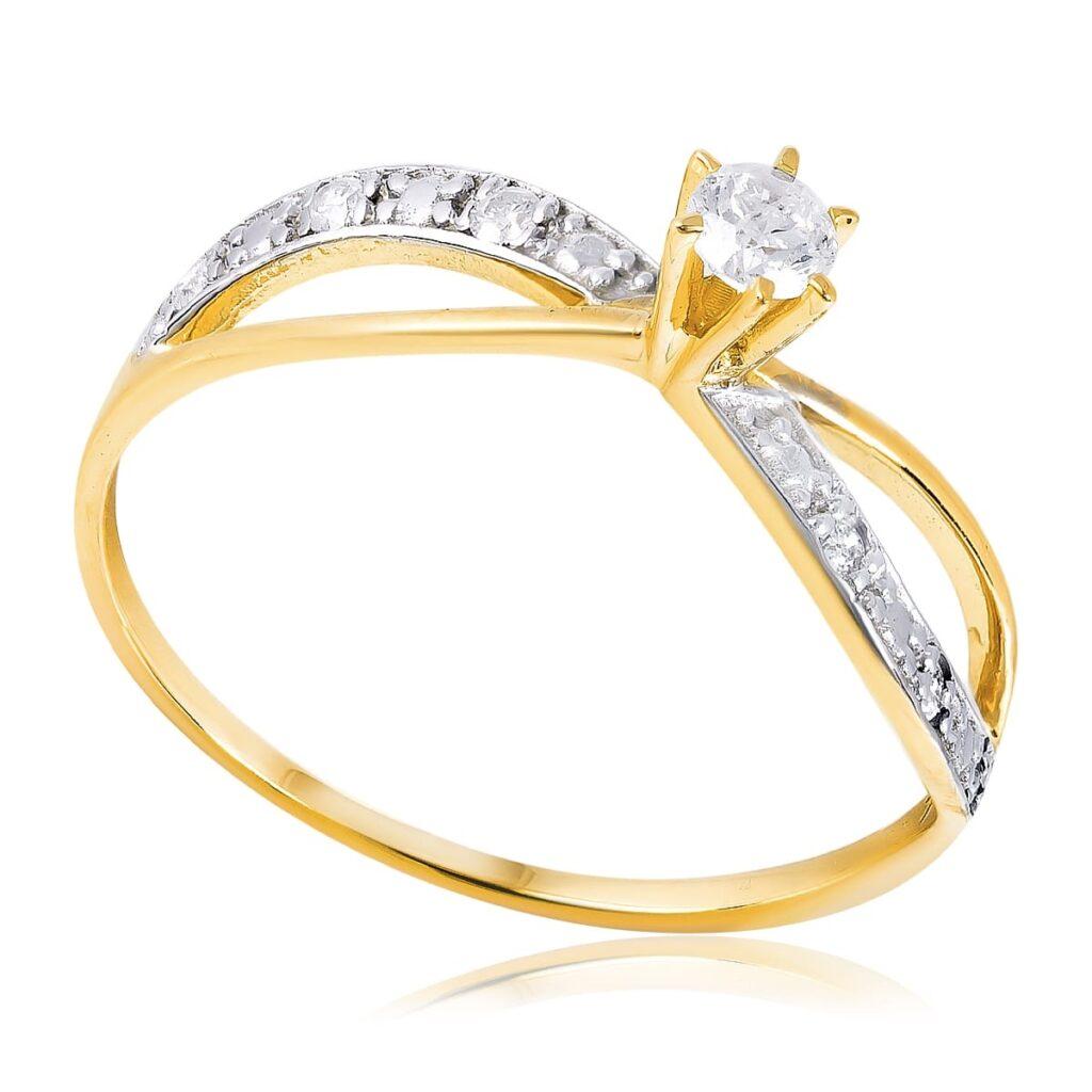 Anel estilo Solitário Infinito de Ouro com 17 Pts em Diamantes