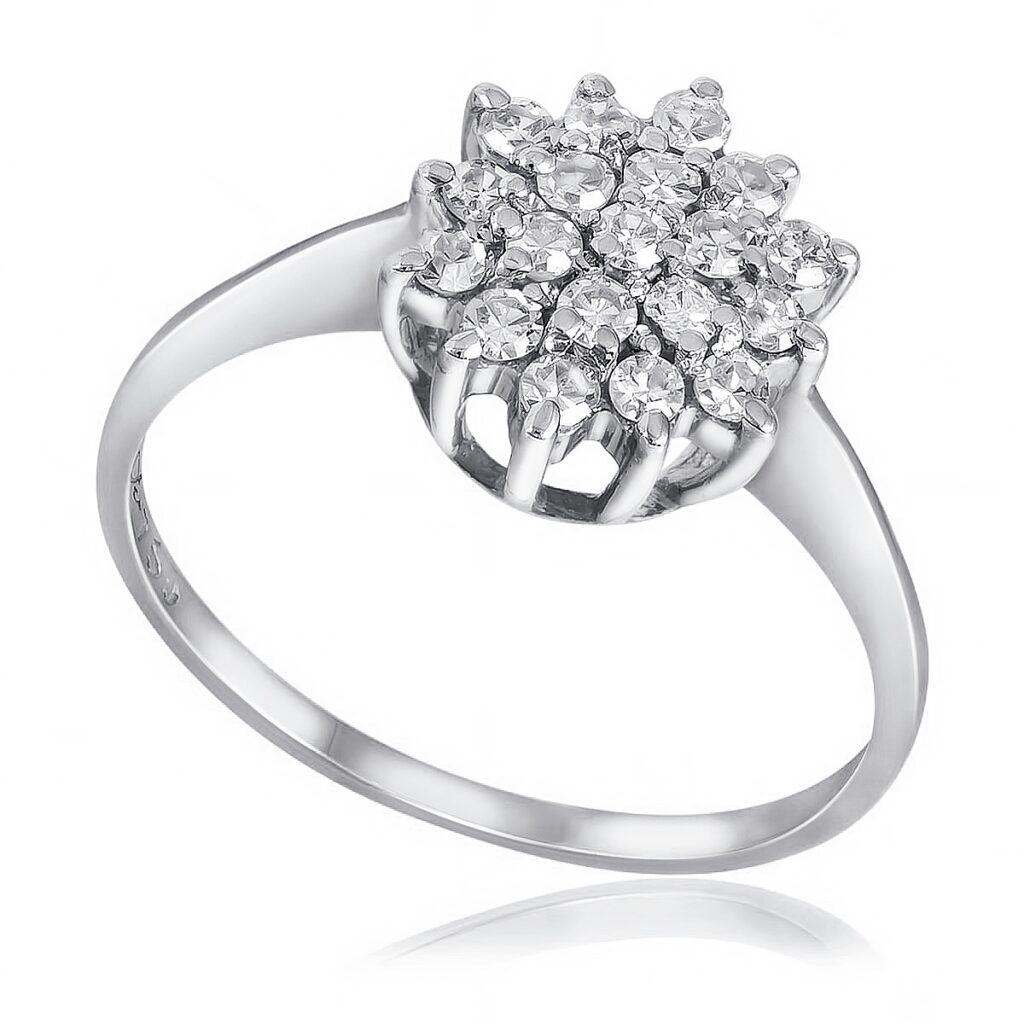 Anel Chuveiro de Ouro Branco com 29 Pts em Diamantes