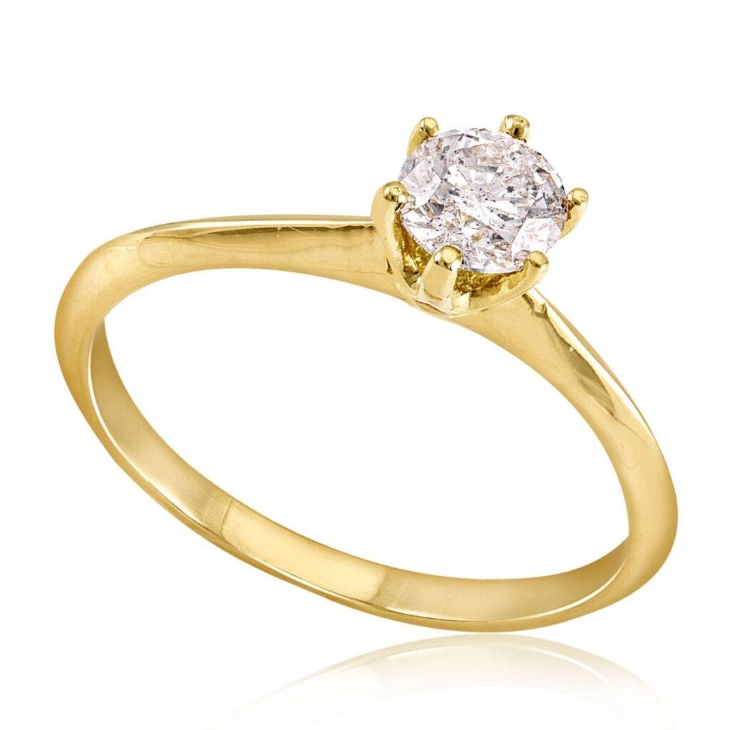 Anel Solitário de Ouro com Diamante de 55 Pts
