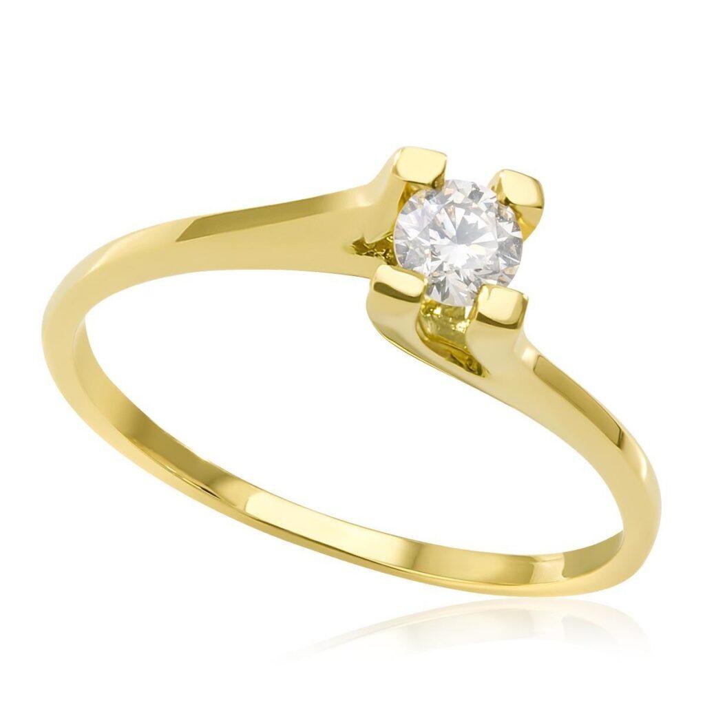 Anel Solitário de Ouro - Diamante de 10 Pts