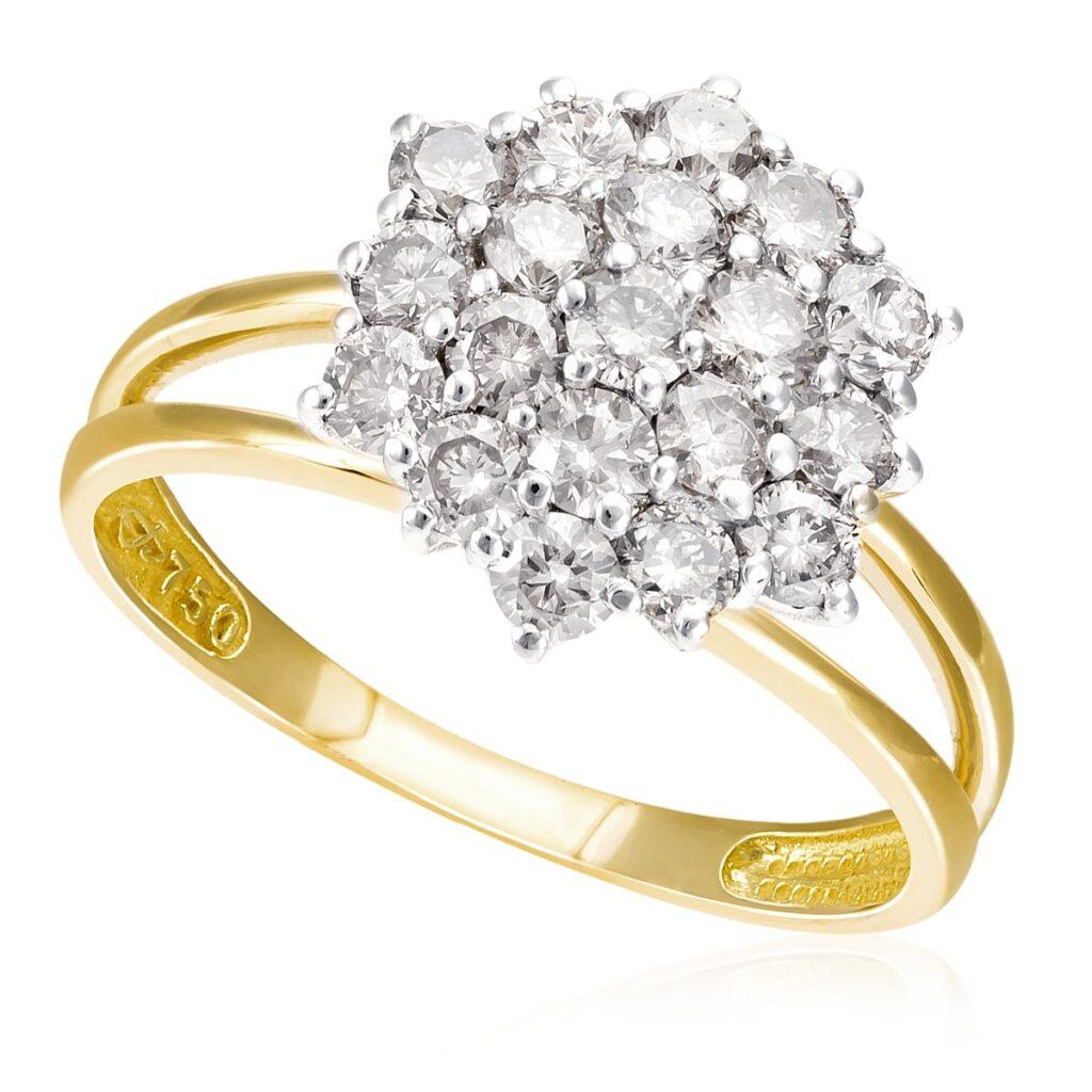 Anel Chuveiro de Ouro com 1,50 Ct em Diamantes Conhaque