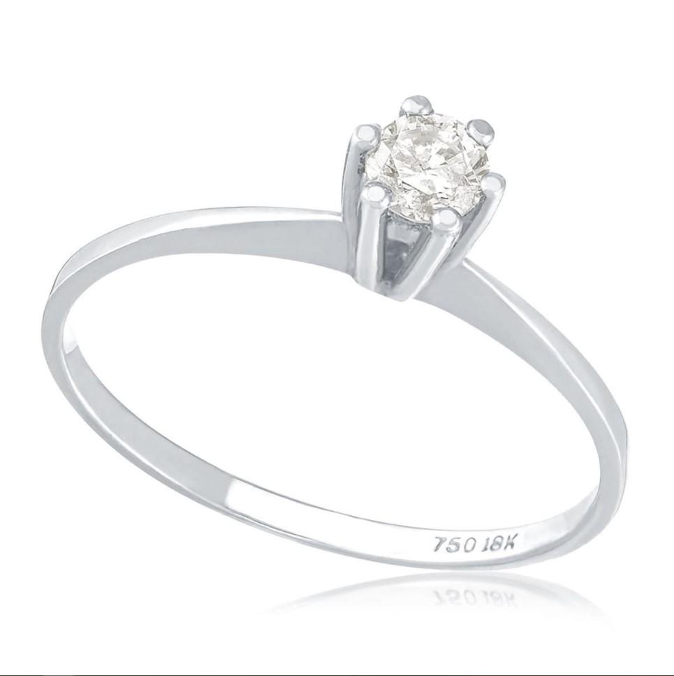 Anel de Ouro Branco Solitário com Diamante de 10 Pts