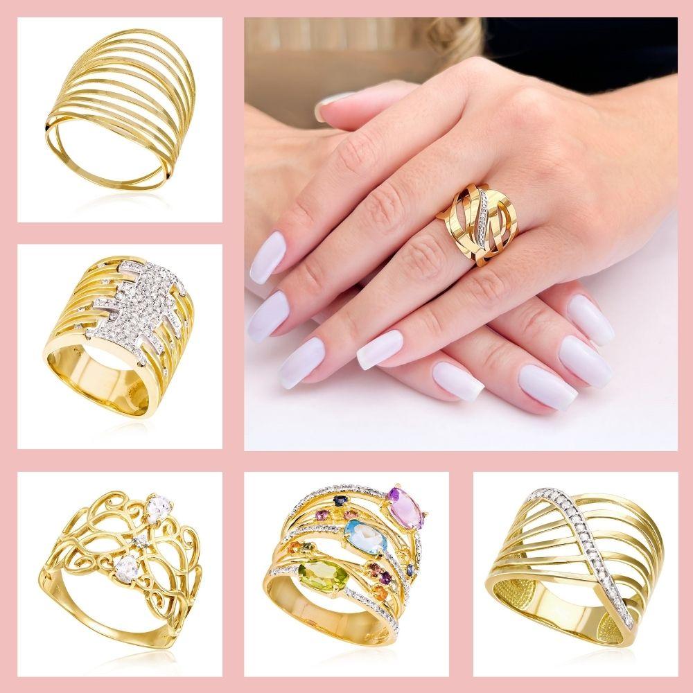 maxi anéis em ouro 18k