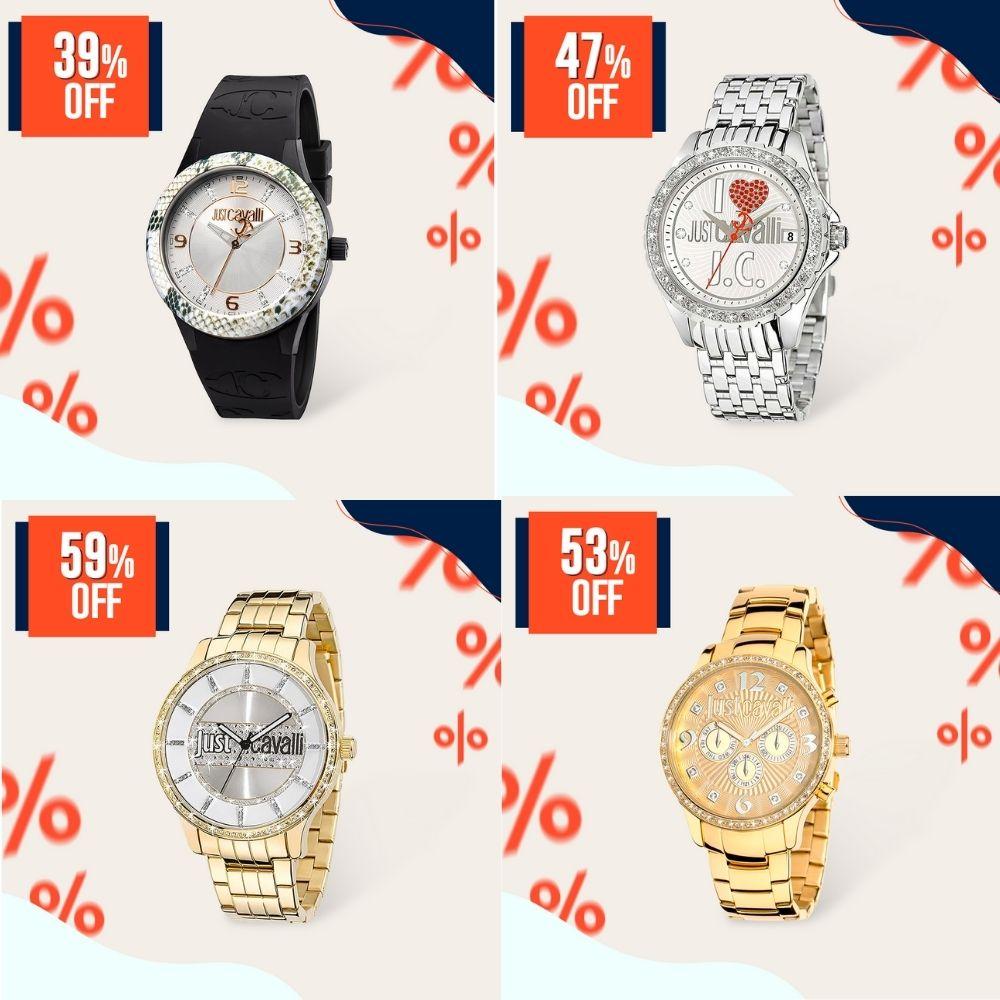 Relógios Just Cavalli com diferentes tipos de cristais do Joias Vip