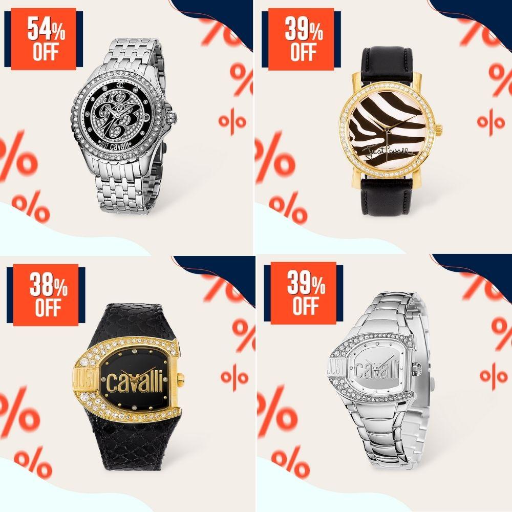 Relógios Just Cavalli com diferentes detalhes no mostrador do Joias Vip