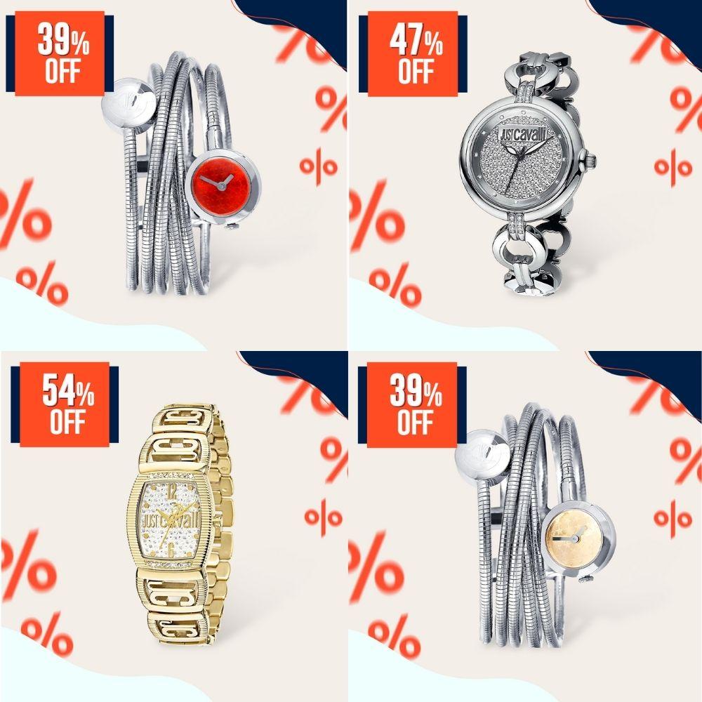 Relógios Just Cavalli com diferentes tipos de pulseira do Joias Vip